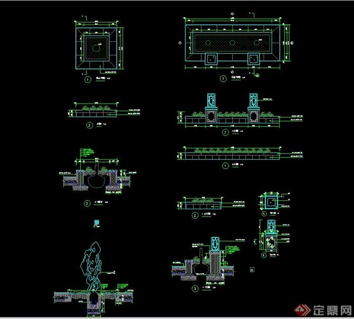 园林景观树池、假山、灯柱招聘CAD施工图珠海cad设计制图图片
