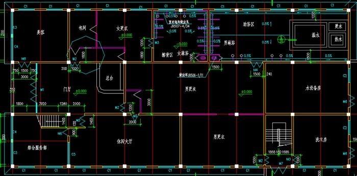 某三层框架结构洗浴健身中心全套建筑图-2000平[原创