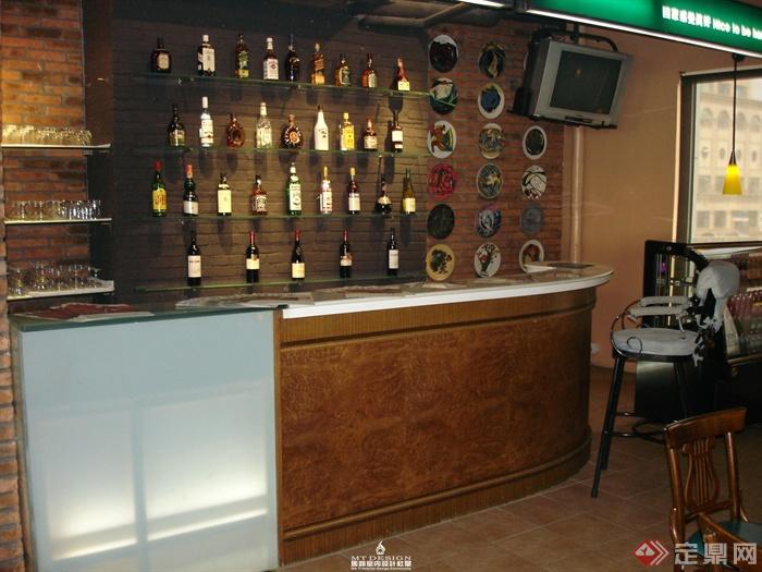 咖啡馆装修图片-咖啡厅吧台酒柜杯具-设计师图库