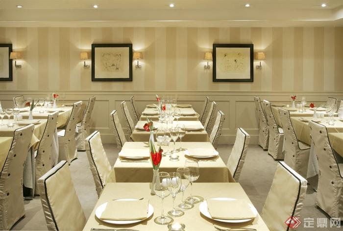 餐饮空间,餐桌椅,餐具,形象墙