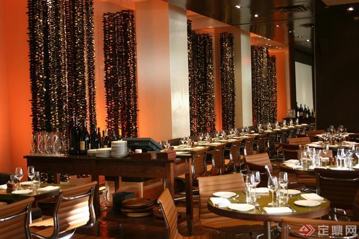 餐厅空间,餐桌椅,餐具,形象墙