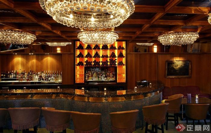 水晶吊灯,椅子,酒柜,吧台,酒吧空间