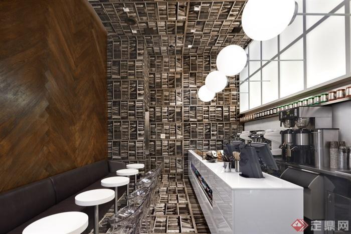 咖啡馆,吧台,餐桌椅,创意墙
