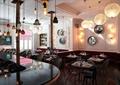 咖啡厅,餐厅,桌椅,书柜,吊灯,装饰墙,前台柜