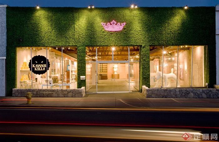 艺术画廊咖啡厅-门头门面设计落地窗-设计师图库