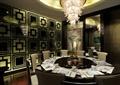 咖啡厅,餐具,圆桌,椅子,水晶吊灯,形象墙
