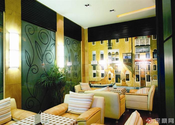 阳光岛大卫咖啡厅室内设计-玻璃墙沙发墙绘-设计师