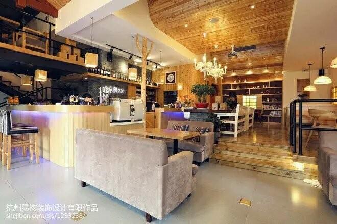 混搭风格咖啡厅室内设计-沙发茶几灯饰陈设吊顶餐饮