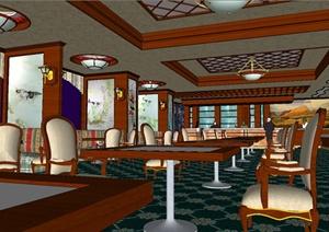 西餐厅装饰设计SU(草图大师)模型