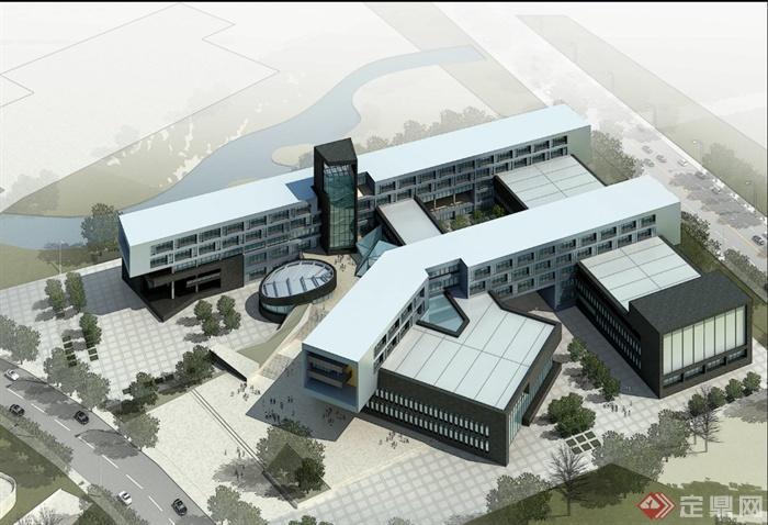 现代某四层集装箱式办公建筑设计3DMAX浙江华平建筑设计有限公司图片