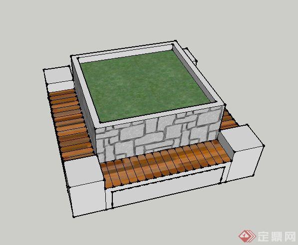 方形树池设计su模型