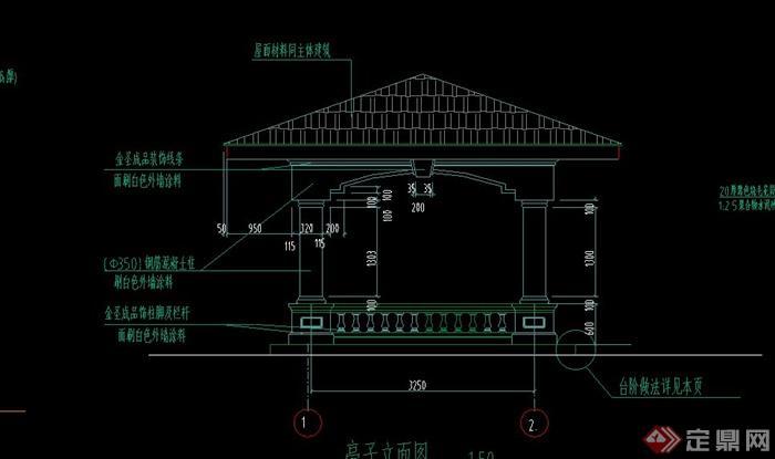 园林景观欧式方亭设计cad施工图