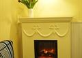 客厅,吊灯,植物,壁炉,背景墙