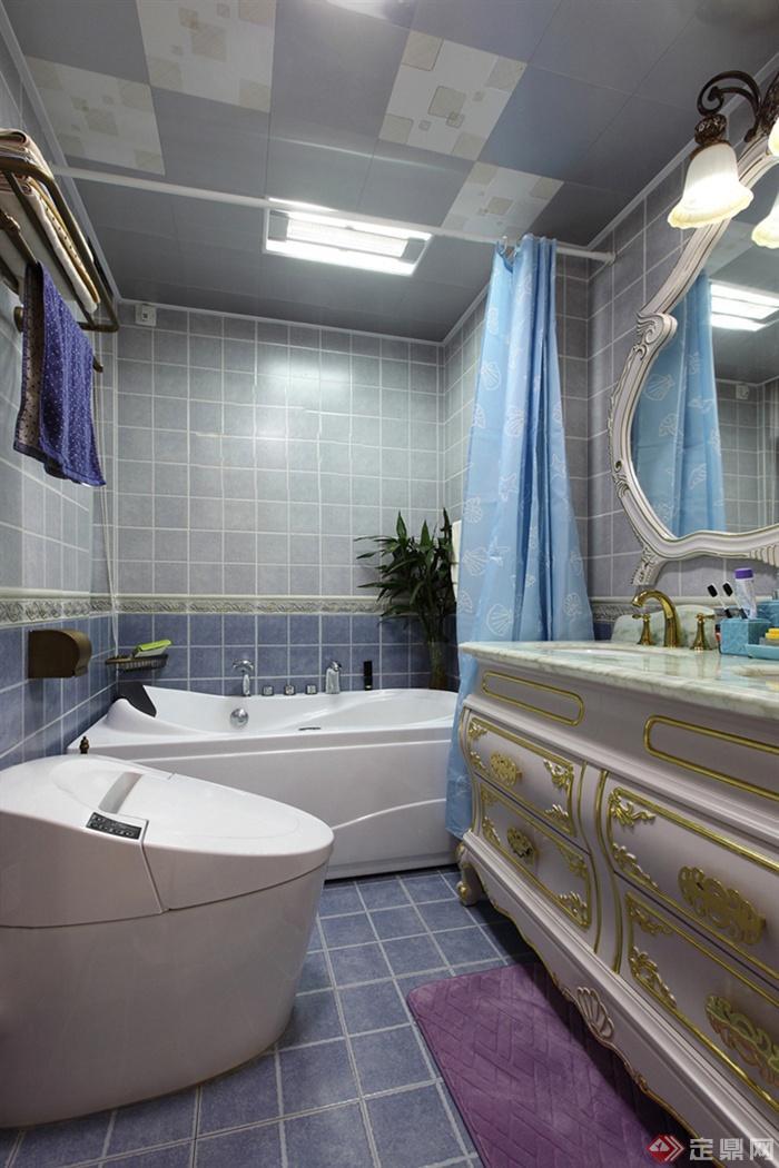 96㎡简约欧式3室住宅空间与庭院景观设计图-卫生间柜
