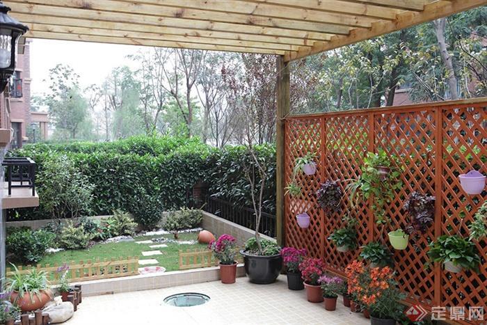 庭院景观,廊架,汀步,植物,围栏