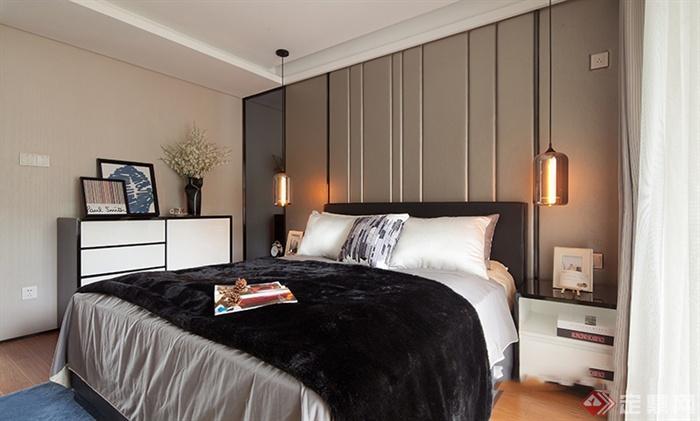 卧室,床,床头柜,吊灯,边柜,背景墙图片