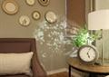 客廳,鐘表擺件,沙發,臺燈,植物,背景墻
