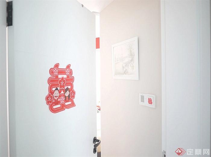 97㎡小清新宜家风婚房装饰图片-门室内门-设计师图库