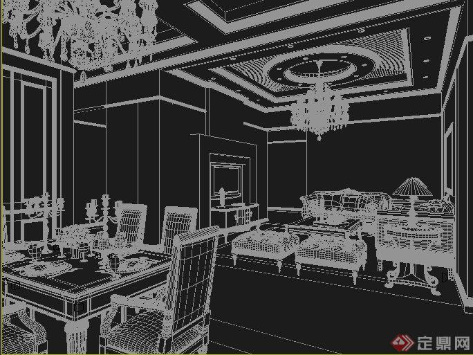 欧式风格家装客厅,餐厅室内装饰设计3dmax模型