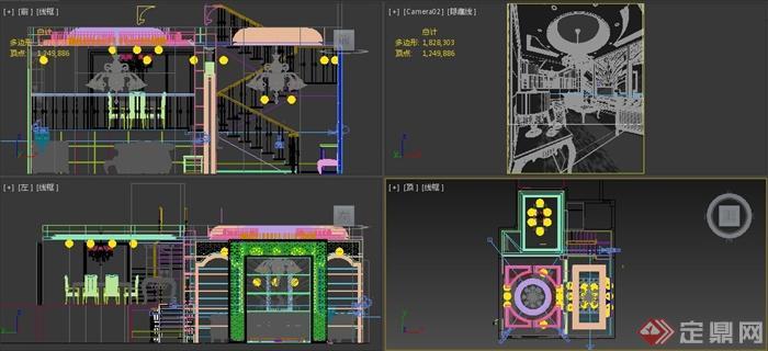 复式欧式住宅客餐厅室内装饰设计3dmax模型