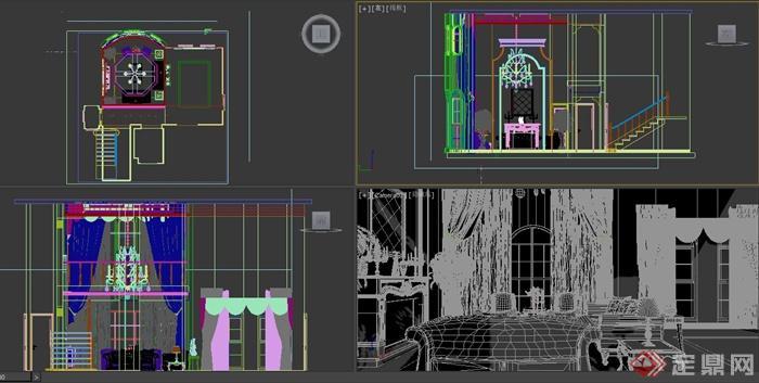 某欧式风格住宅空间客厅装修设计方案3DMAX模型,该室内有沙发、茶几、地柜、楼梯、柜子、桌子、灯具、植物等,模型制作细致,附带材质贴图,具有一定的参考价值。