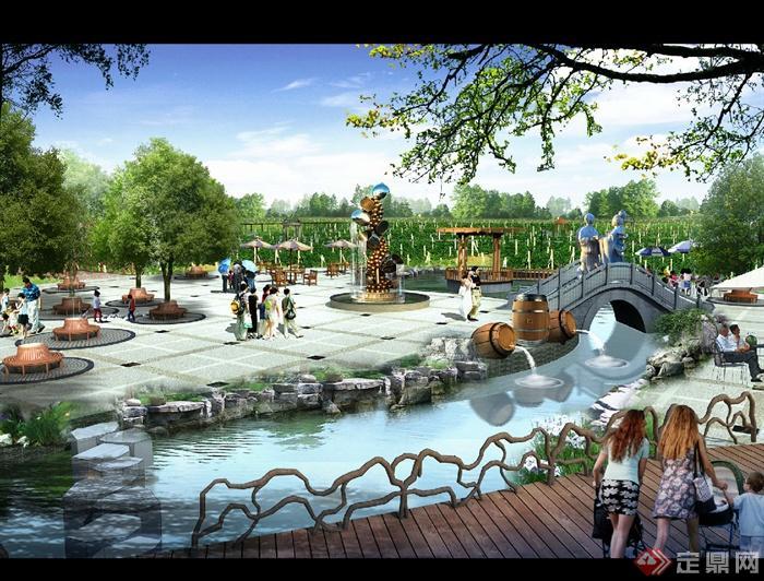 公园,公园景观,拱桥,小溪,树池,雕塑,木桥,水景