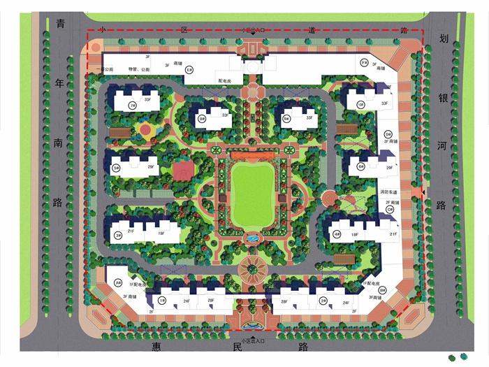 某住宅小区景观规划彩平总图[原创]