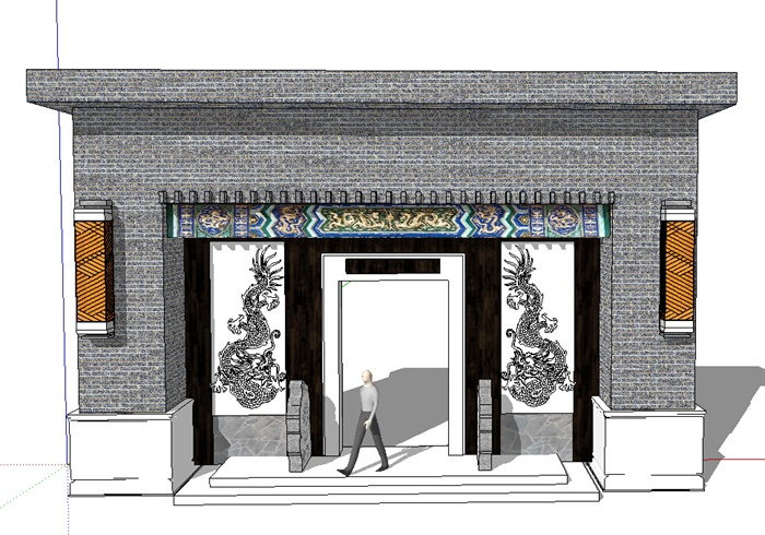 古中式大门设计su模型,中式宅院和庭院花园常用大门设计,造型独特
