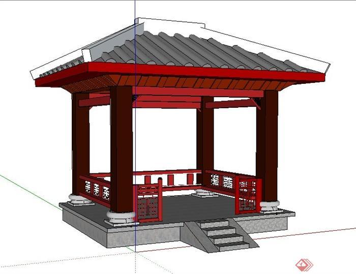 现代中式风格四角亭su模型图片