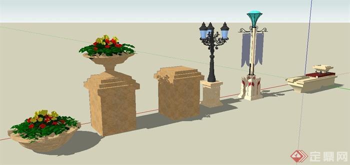 园林景观园灯,花钵,坐凳su模型(1)