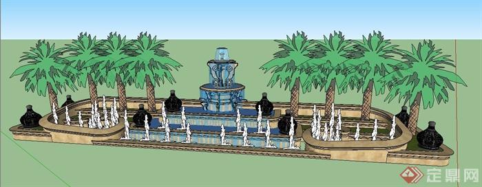 某跌叠水喷泉景观su模型