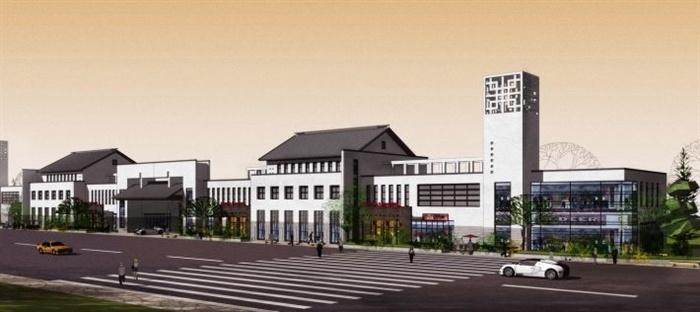 22个新中式商业街建筑设计su模型