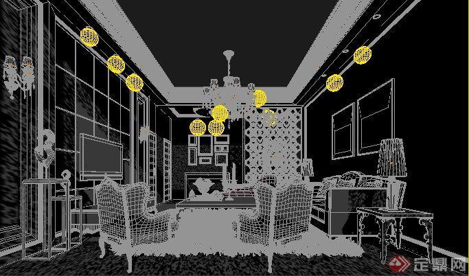 家装设计某欧式客厅室内装饰3dmax模型