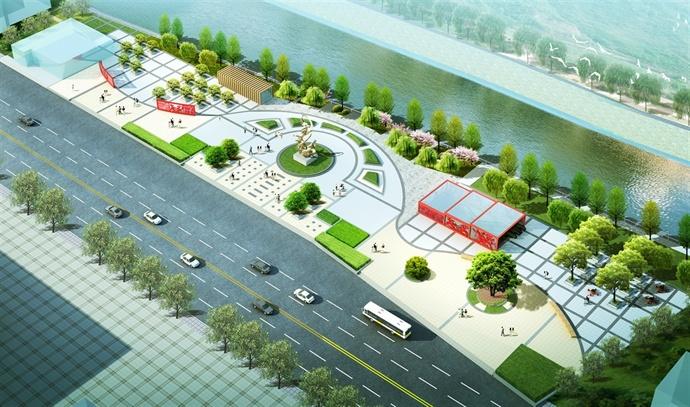 此广场与火车站站前广场一路之隔,在平面上