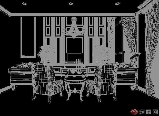 欧式风格某别墅客餐厅室内装饰设计3dmax模型