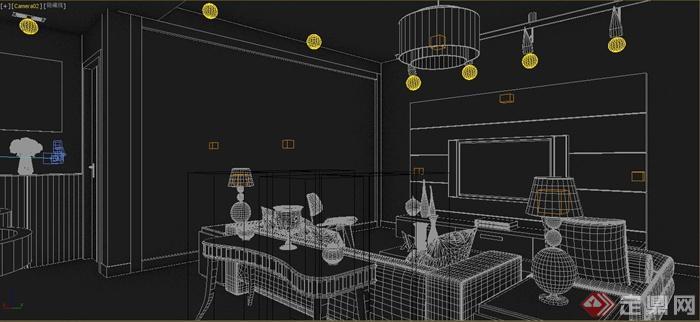 某两室两厅住宅室内餐厅与客厅装修设计dmax模型