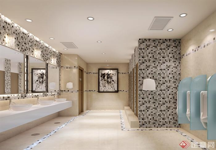 现代风格商场室内设计-公共卫生间洗手台装饰画-设计
