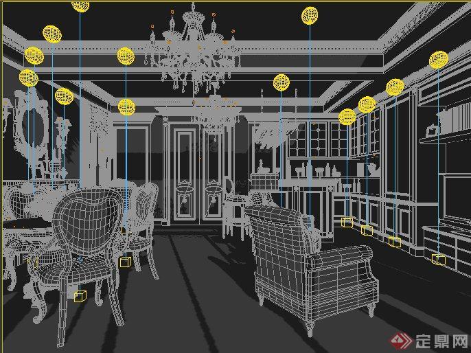 欧式风格办公室,书房室内装饰设计3dmax模型