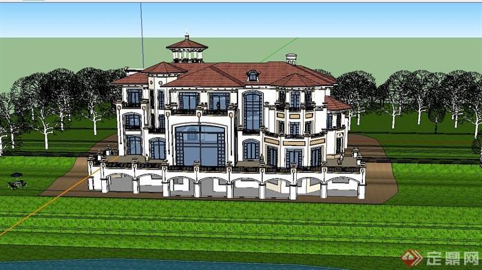 某欧式风格三层会所建筑设计su模型
