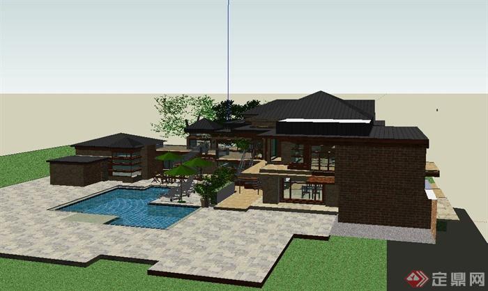 某欧式风格两层温泉会所建筑设计su模型