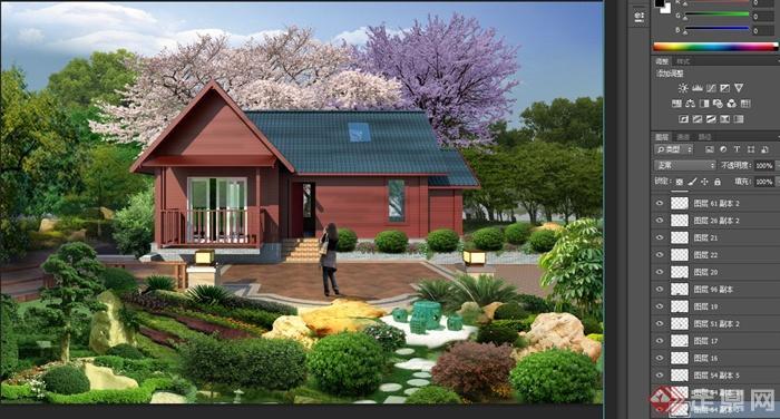 某单层别墅建筑设计cad方案图+su模型+psd效果图