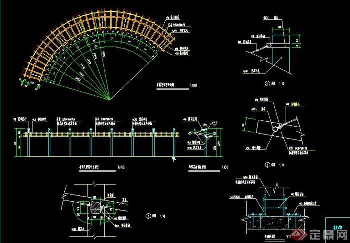 > 园林景观单边户型廊架设计cad施工图,该设计有平面图,立面图,剖面