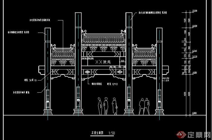 园林古典中式风格牌坊设计cad施工图