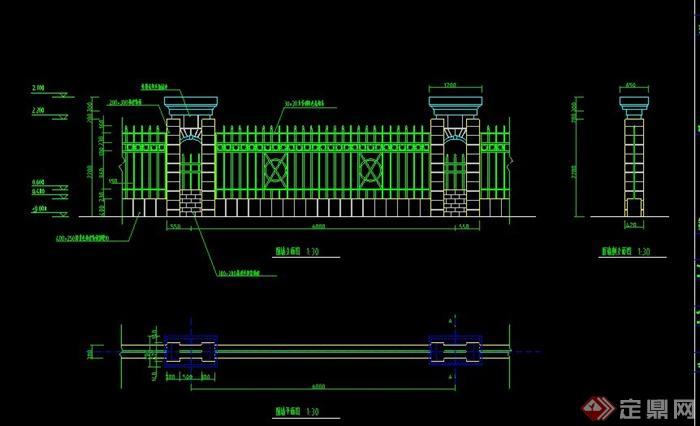 wall]  > 现代园林景观围墙设计cad施工大样图,该设计有平面图,立面图