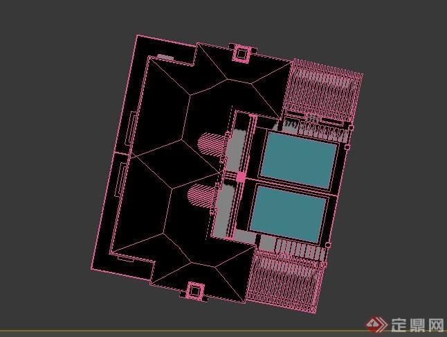 两层欧式风格别墅建筑设计3dmax模型