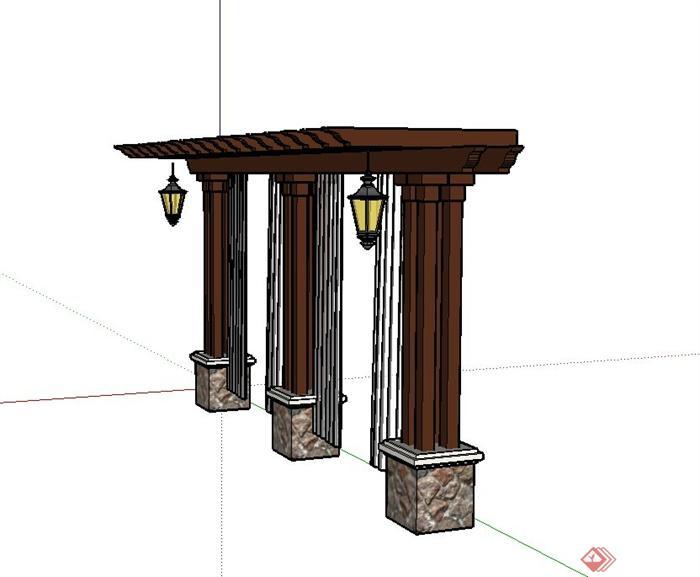 园林木质单臂廊架设计su模型