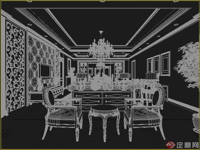 欧式风格家装客厅及餐厅室内装饰设计3dmax模型