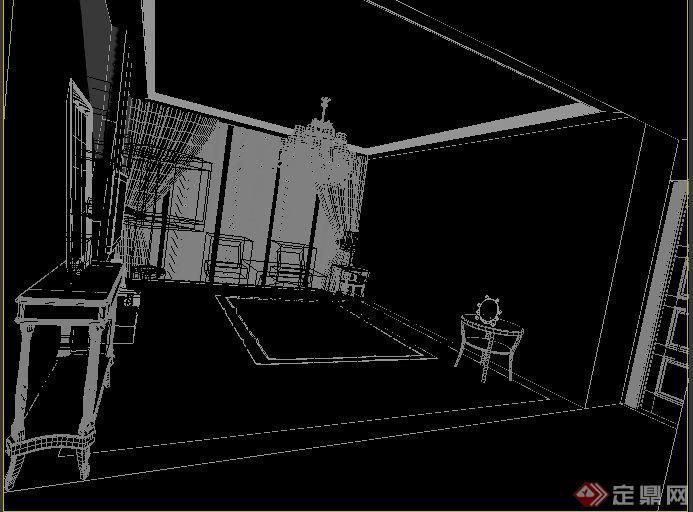 欧式田园风客厅及餐厅室内装饰设计3dmax模型