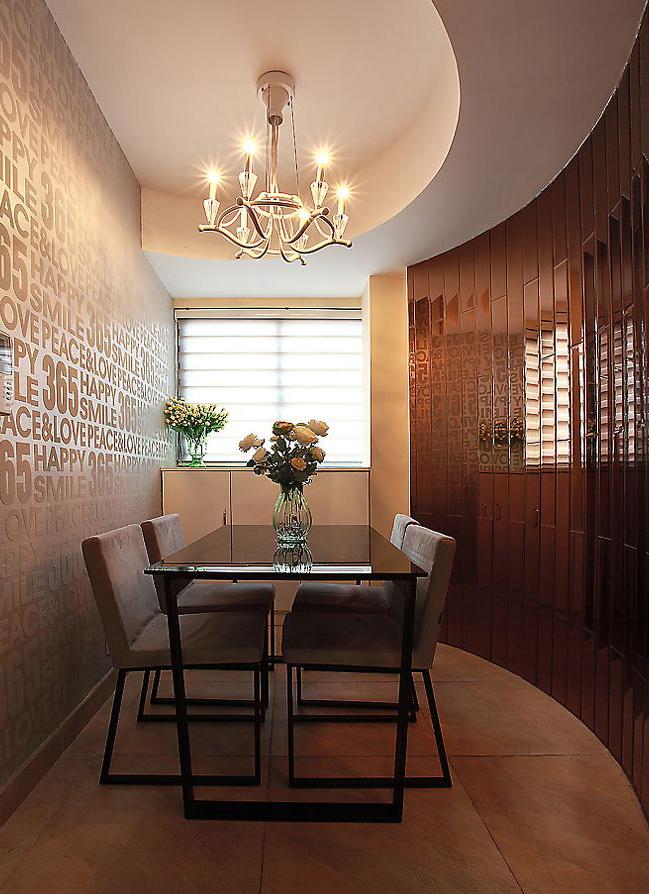 109㎡现代3居房 独特圆弧镜面墙 榻榻米书房-餐厅餐桌