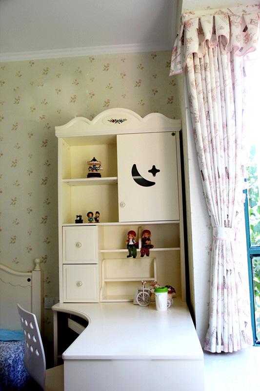 109㎡细腻温馨欧式田园3居-卧室书柜书桌窗帘-设计师